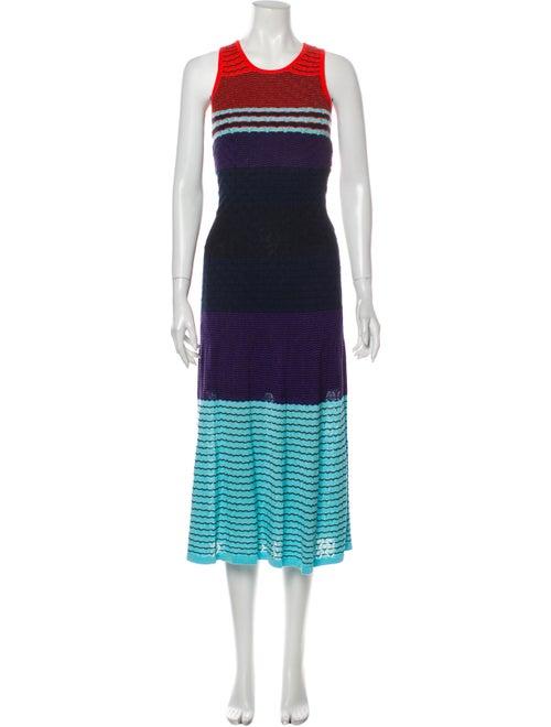 Parker Striped Midi Length Dress Blue