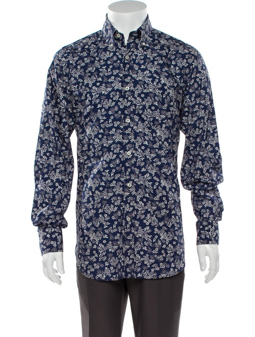 Paul & Shark Paisley Print Long Sleeve Shirt Blue