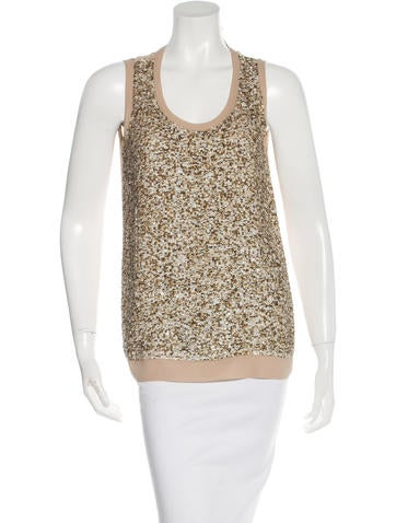 M.PATMOS Silk Sequin-Embellished Top None