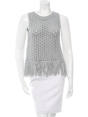 M.PATMOS Knit Fringe-Trimmed Top None