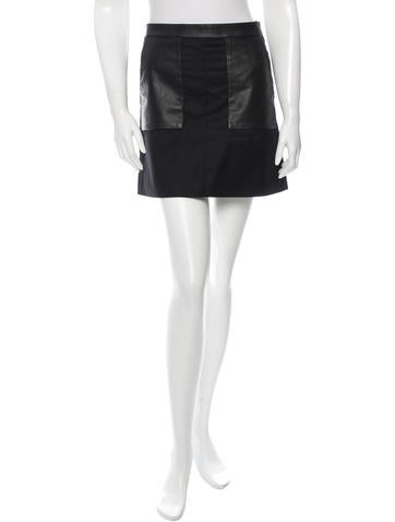 M.PATMOS Leather Panel Mini Skirt None