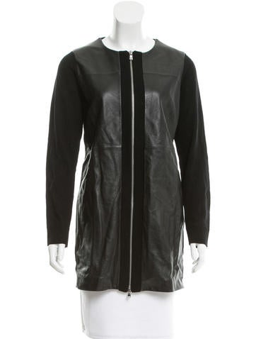 M.PATMOS Leather Collarless Jacket None