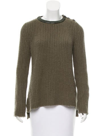 M.PATMOS Leather-Trimmed Cashmere Sweater None