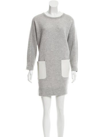 M.PATMOS Wool Leather-Accented Dress None