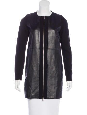M.PATMOS Leather-Paneled Wool Jacket None