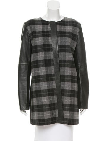M.PATMOS Leather-Accented Wool Coat None