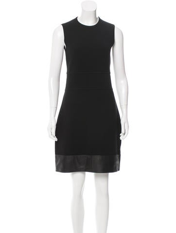 M.PATMOS Leather-Trimmed Wool Dress None