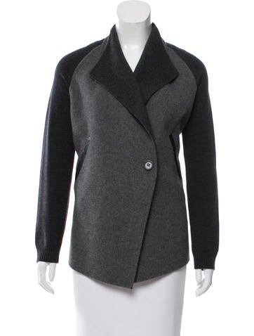 M.PATMOS Wool Leather-Trimmed Cardigan None