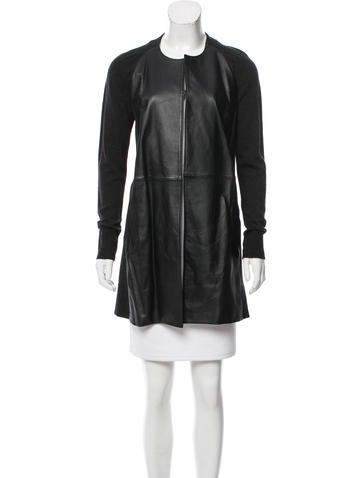 M.PATMOS Leather-Paneled Wool Cardigan None