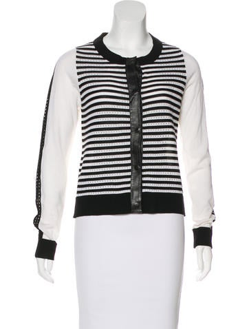 M.PATMOS Leather-Trimmed Wool Cardigan w/ Tags None
