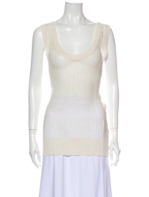 M.patmos Linen Scoop Neck Sweater White - image 1