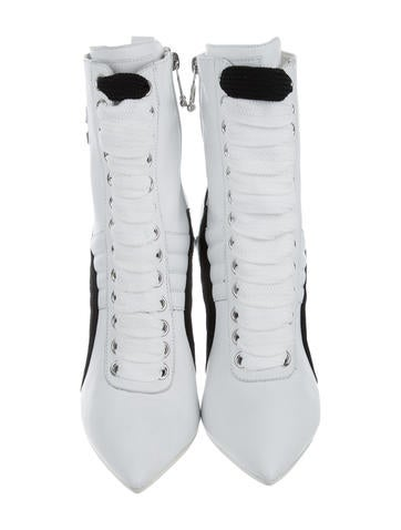 Leather High-Heel Sneakers
