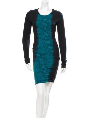 Pam & Gela Ruched Snakeskin Print Dress None