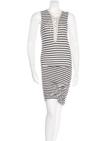 Pam & Gela Striped Lace-Up Dress None
