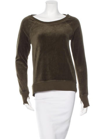 Pam & Gela Velour Lace-Up Sweatshirt w/ Tags None