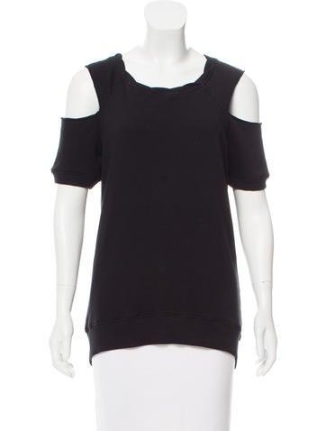 Pam & Gela Off-The-Shoulder Knit-Trimmed Sweatshirt None