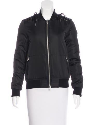 Pam & Gela Lace-Up Accented Bomber Jacket None