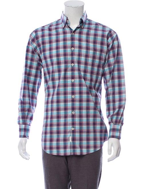 Peter Millar Madras Plaid Woven Shirt blue