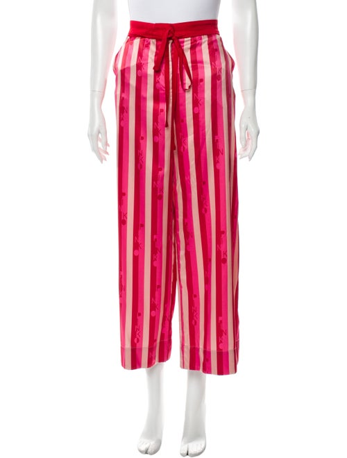 Pinko Striped Wide Leg Pants Red