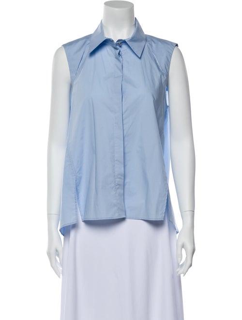 Pinko Sleeveless Button-Up Top Blue