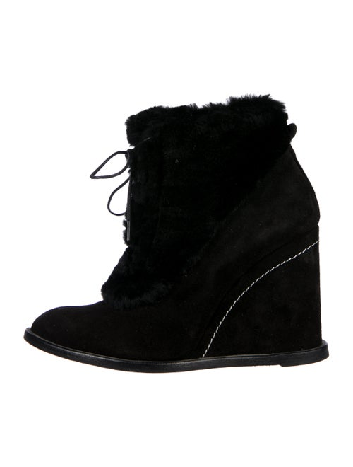 Paloma Barceló Suede Wedge Ankle Boots Black