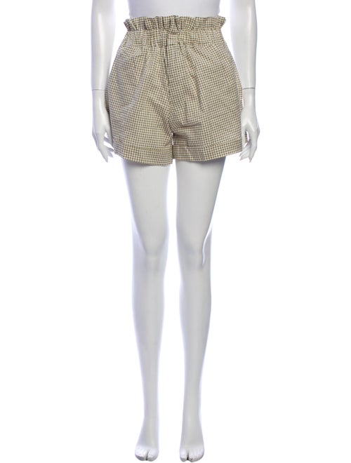 Posse Plaid Print Mini Shorts Green