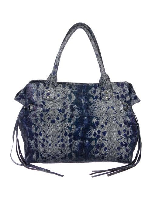 Posse Lizard Printed Suede Tote Bag Blue