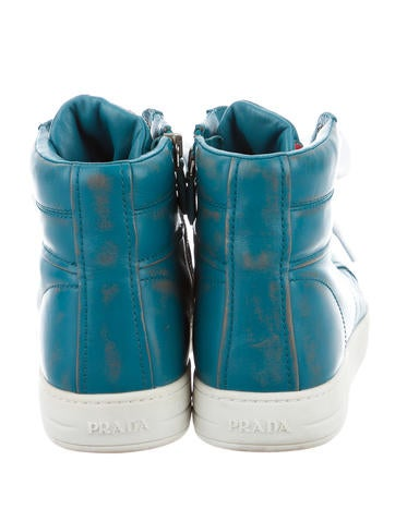 Burnished Leather High-Top Sneakers