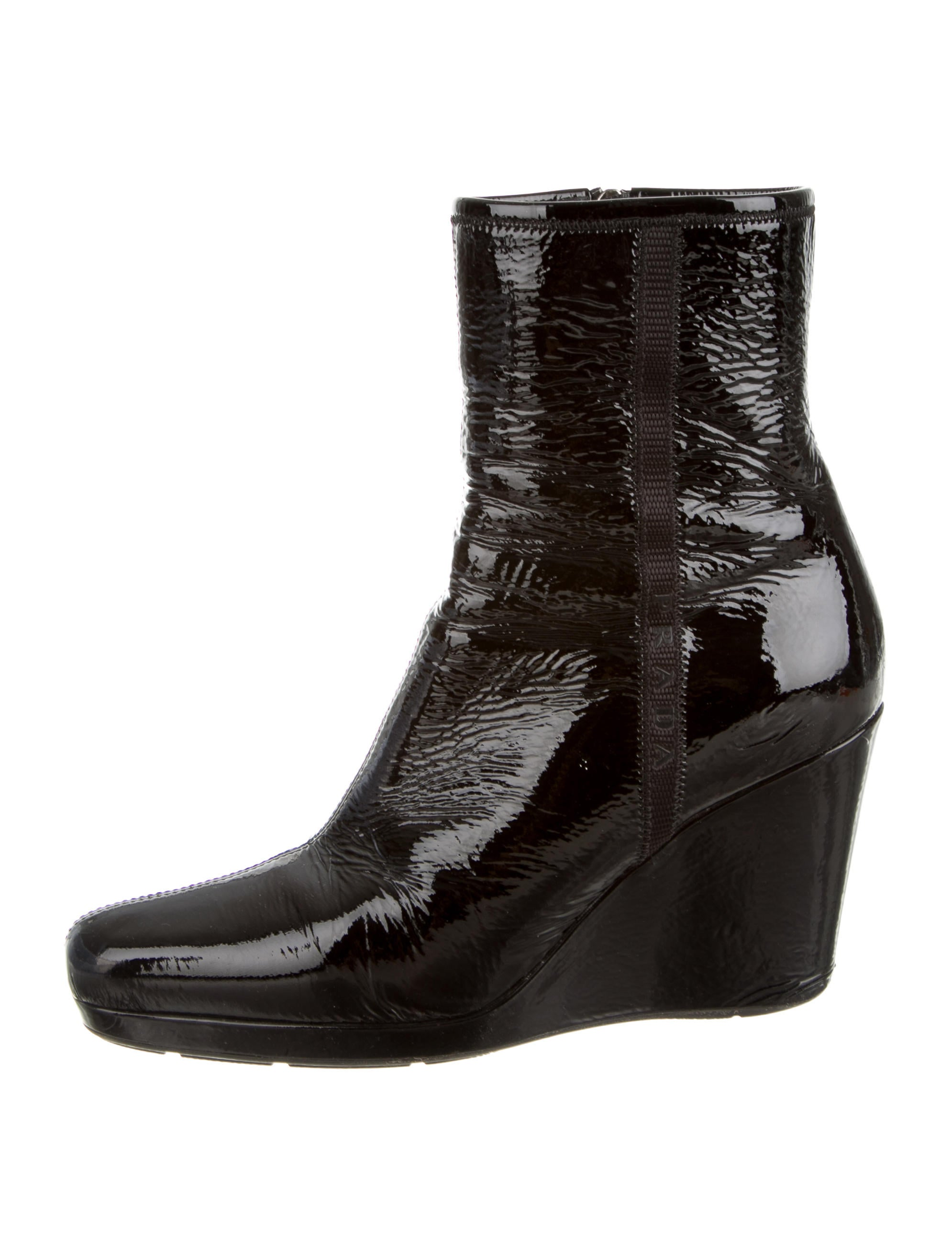 prada sport patent leather wedge booties shoes