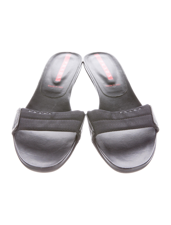 prada sport canvas leather slide sandals shoes