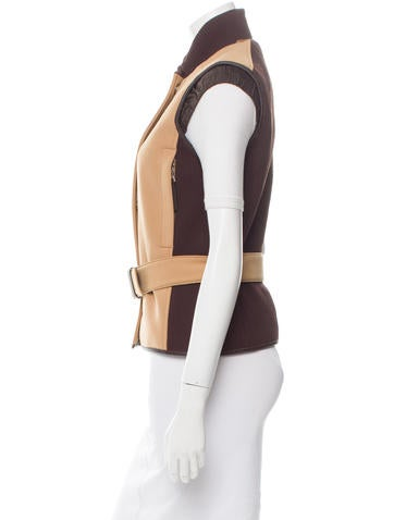 Leather-Trimmed Padded Vest