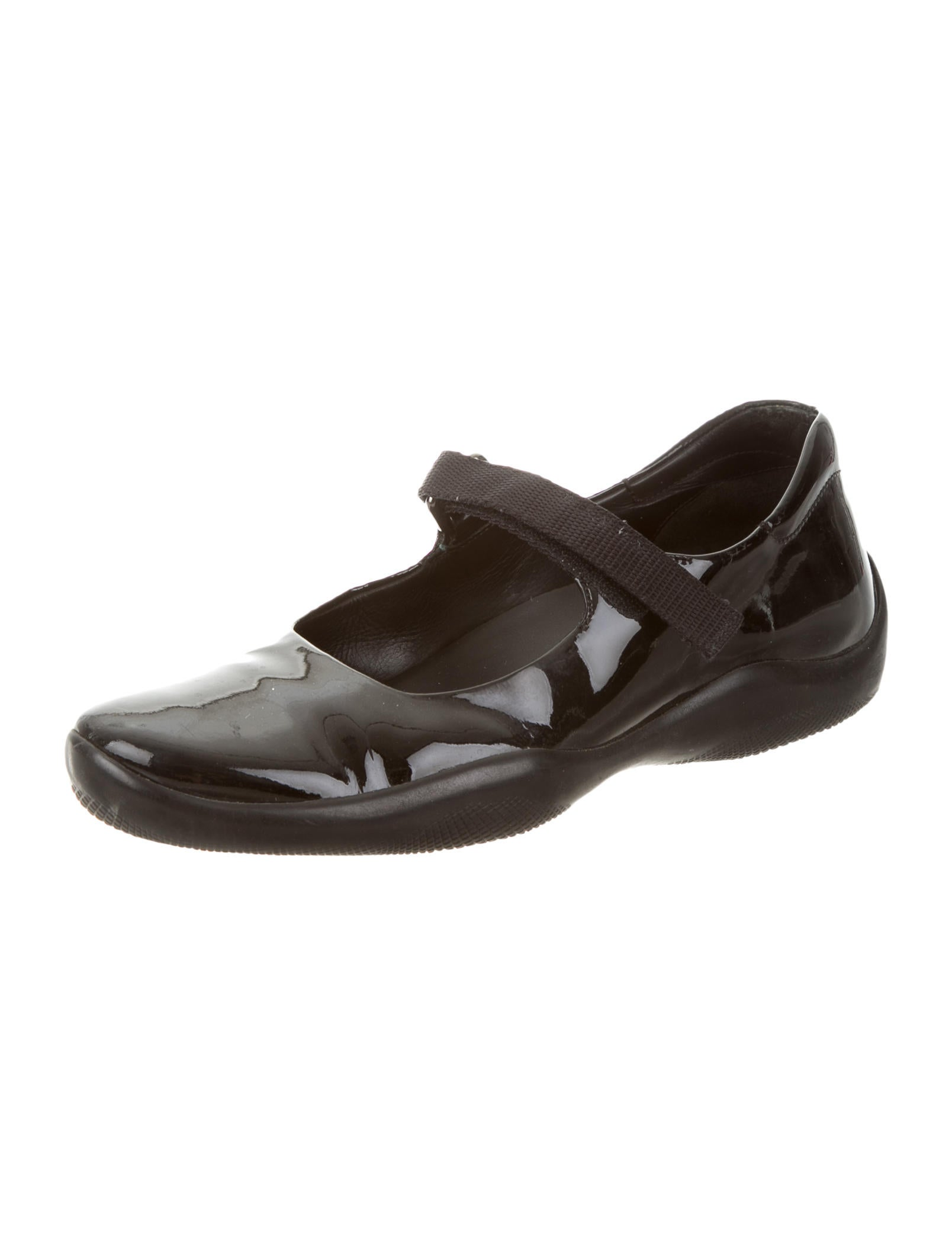 Prada Sport Patent Leather Mary Jane Flats Shoes
