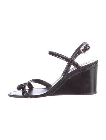 Prada Sport Patent Leather Wedge Sandals None