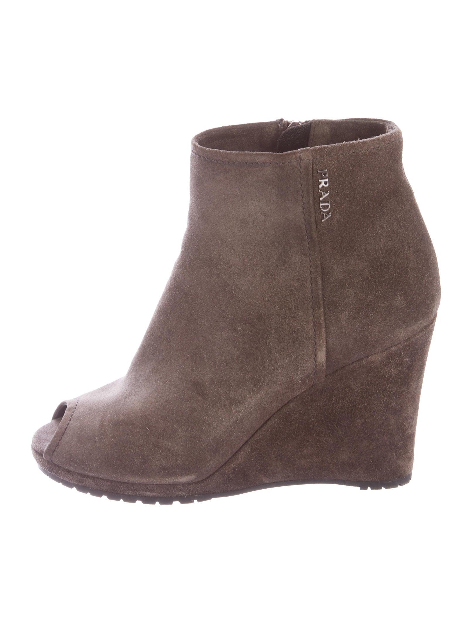 prada sport peep toe wedge ankle boots shoes wpr35388