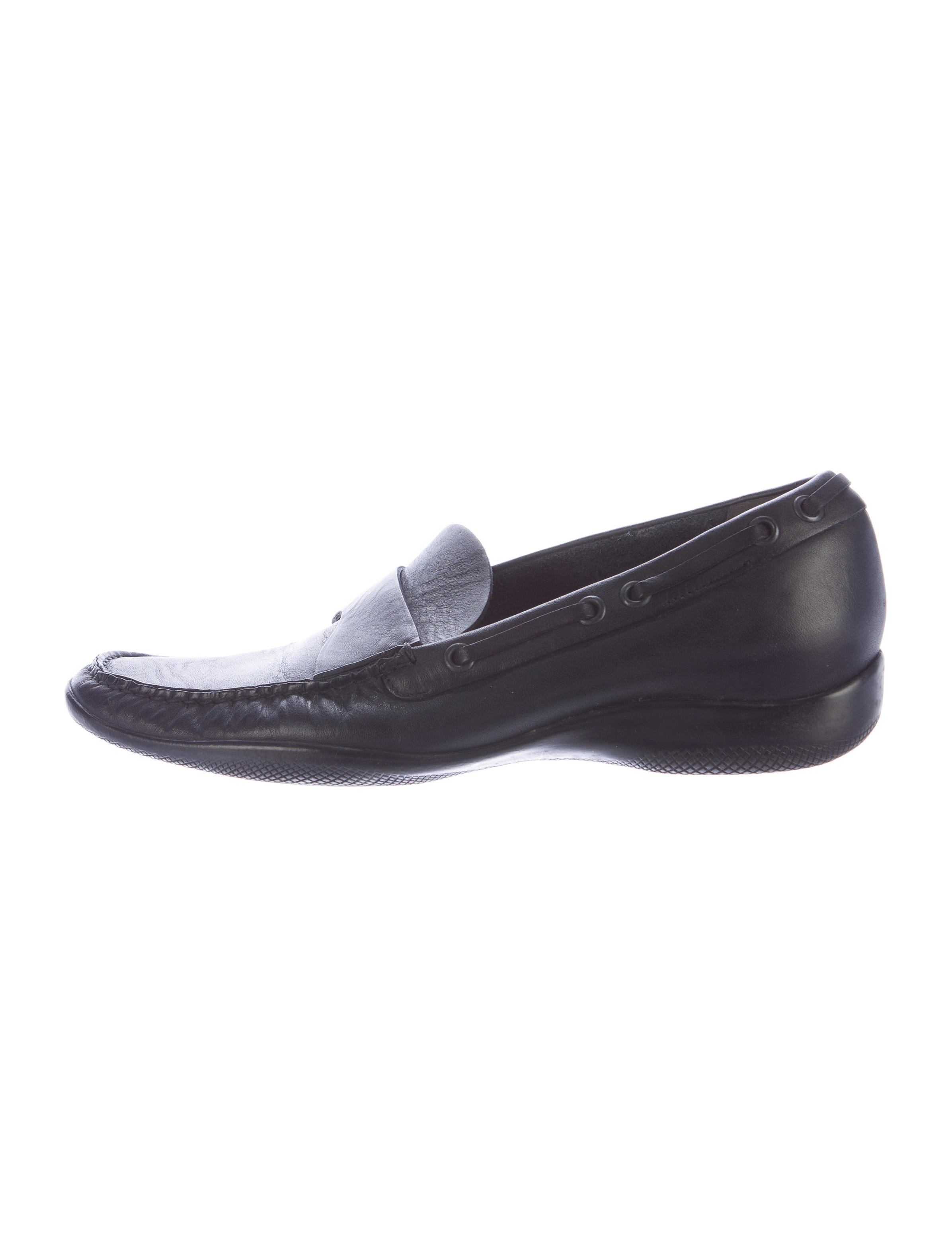 Prada Sport Square-Toe Leather Loafers real cheap sale explore cheap sale Manchester 68u2yv