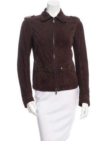 Prada Sport Rib Knit-Accented Suede Jacket None