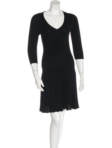 Prada Sport Rib Knit Pleated Dress None