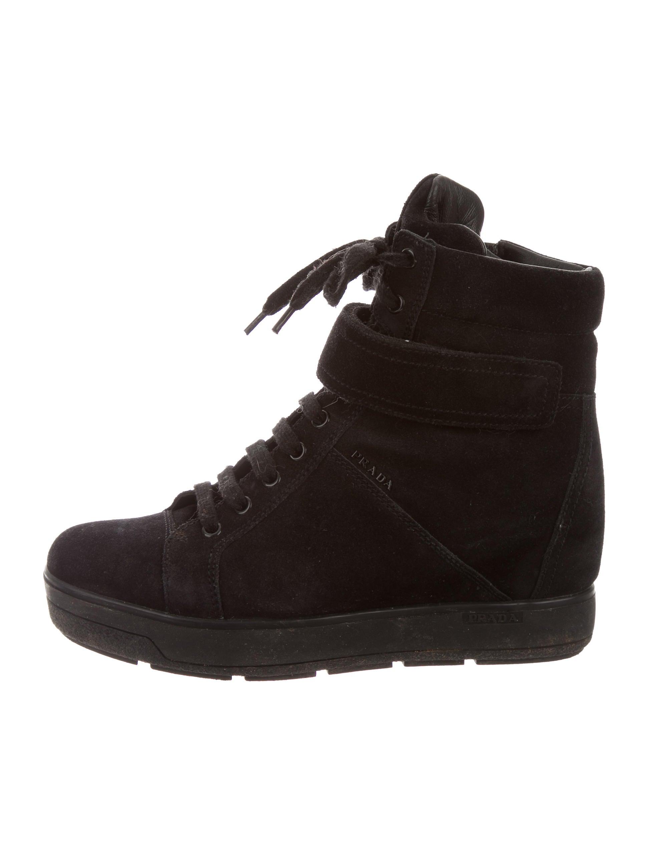 c007186a1ecd Prada Sport Suede Wedge Sneakers - Shoes - WPR36025
