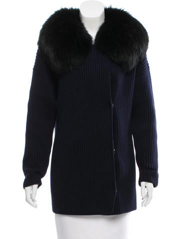 Prada Sport Fur-Trimmed Wool Cardigan None