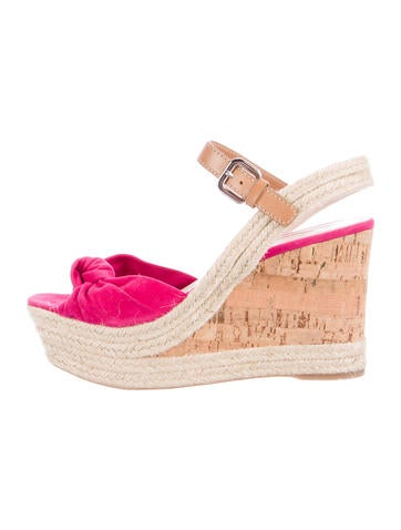 Prada Sport Suede Espadrille Wedge Sandals None