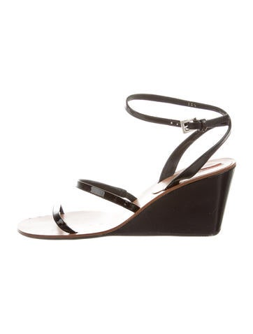 Prada Sport Patent Leather Wedge Sandals None