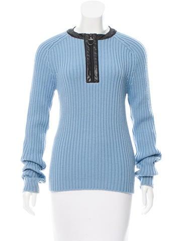 Prada Sport Half-Zip Rib Knit Sweater None