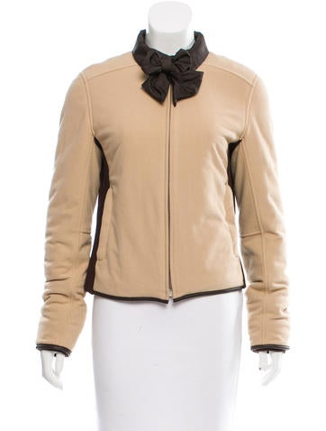 Prada Sport Leather-Trimmed Rib Knit Jacket None