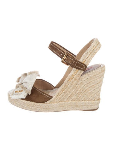 Prada Sport Suede Wedge Sandals None