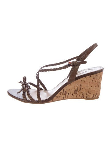 Prada Sport Braided Leather Wedge Sandals None