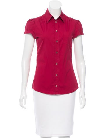Prada Sport Short Sleeve Button-Up Top None