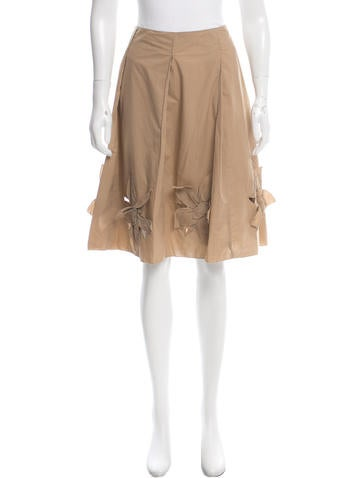 Prada Sport Floral-Acented Knee-Length Skirt None