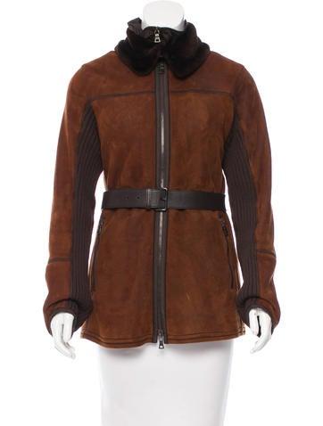 Prada Sport Leather Fur-Trimmed Jacket None