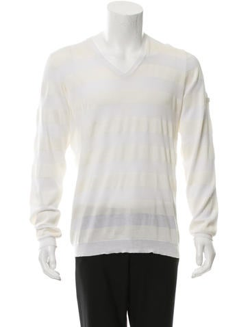 Prada Sport Striped V-Neck Sweater None