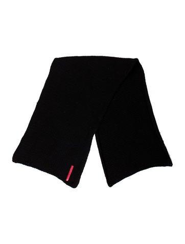 Prada Sport Logo-Accented Rib Knit Scarf None